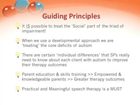 Guiding principles, speech therapy, children with autism and aspergers